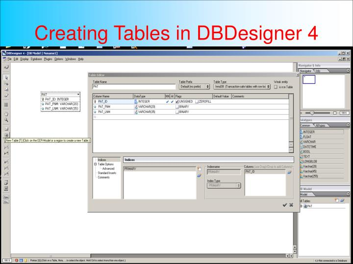 Creating Tables in DBDesigner 4