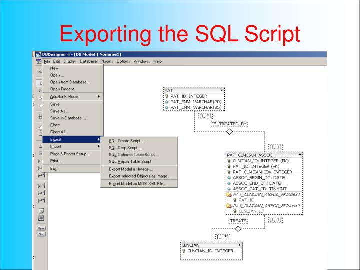 Exporting the SQL Script