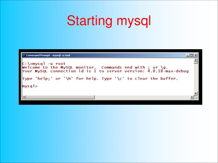 Starting mysql