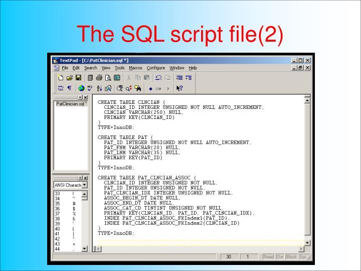 The SQL script file(2)
