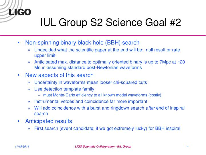 IUL Group S2 Science Goal #2
