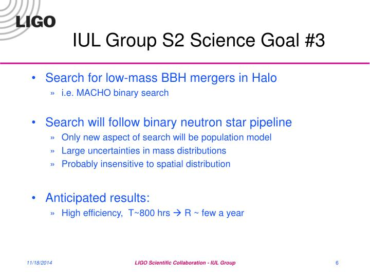 IUL Group S2 Science Goal #3