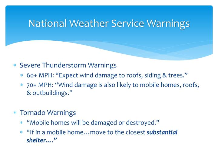National Weather Service Warnings