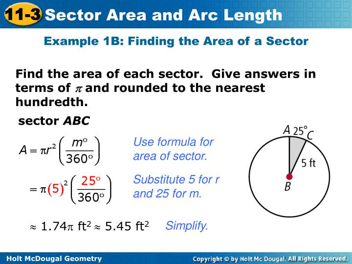 Example 1B: Finding the Area of a Sector