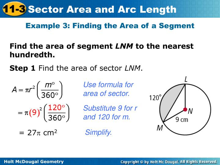 Example 3: Finding the Area of a Segment