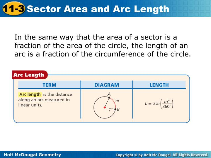 In the same way that the area of a sector is a fraction of the area of the circle, the length of an arc is a fraction of the circumference of the circle.