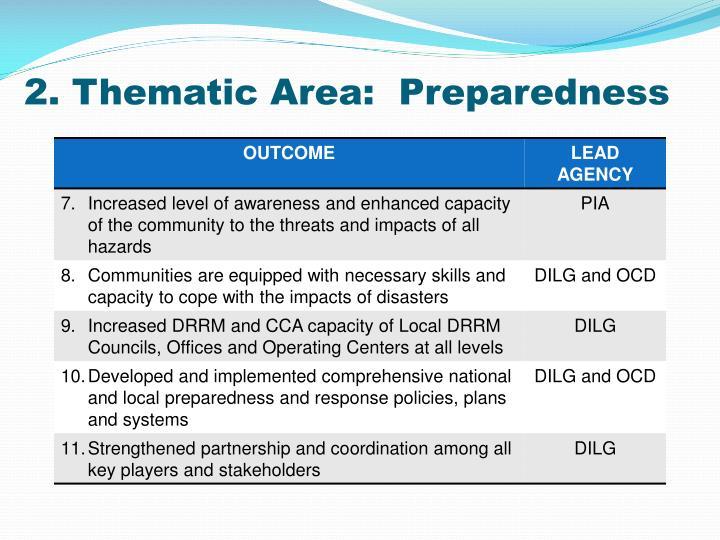 2. Thematic Area:  Preparedness