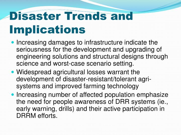 Disaster Trends and Implications