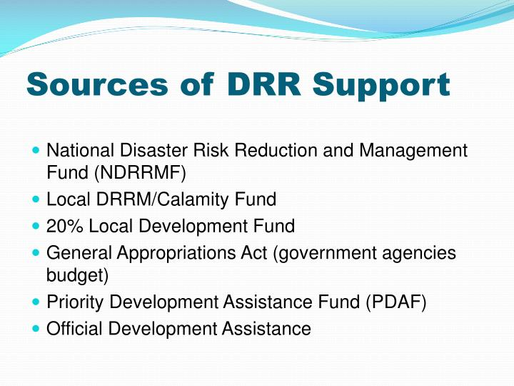Sources of DRR Support