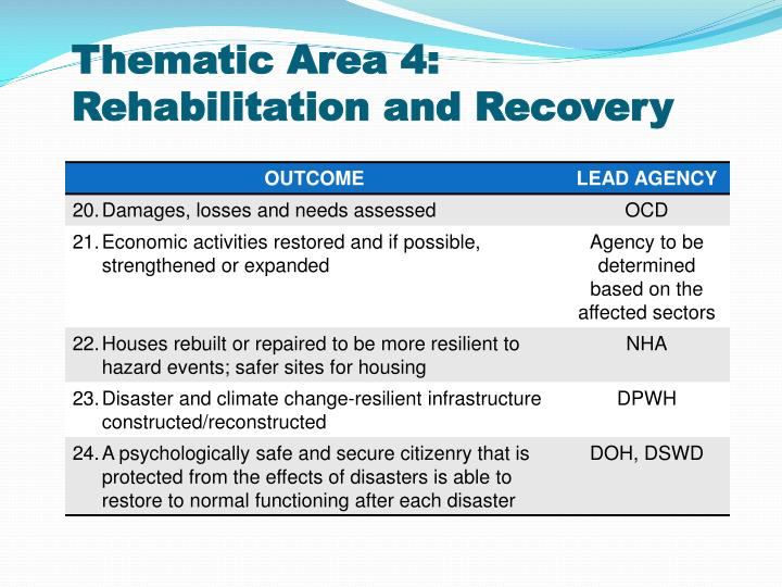 Thematic Area 4: Rehabilitation and Recovery