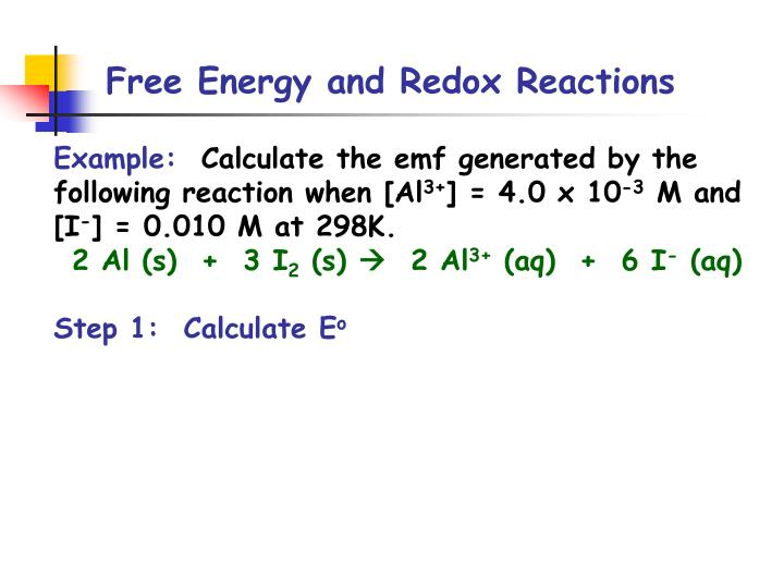 Free Energy and Redox Reactions