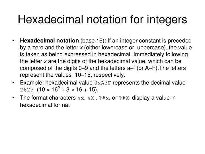 Hexadecimal notation for integers