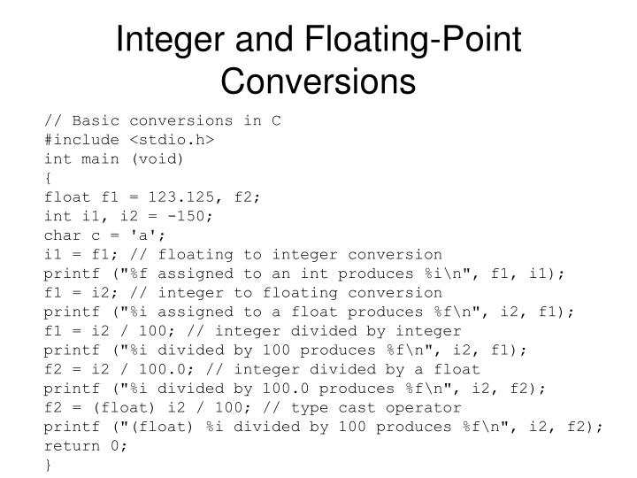 Integer and Floating-Point Conversions