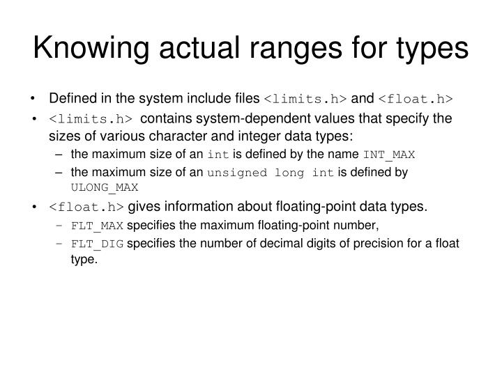 Knowing actual ranges for types