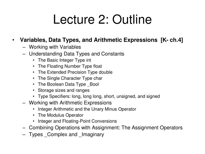 Lecture 2: Outline