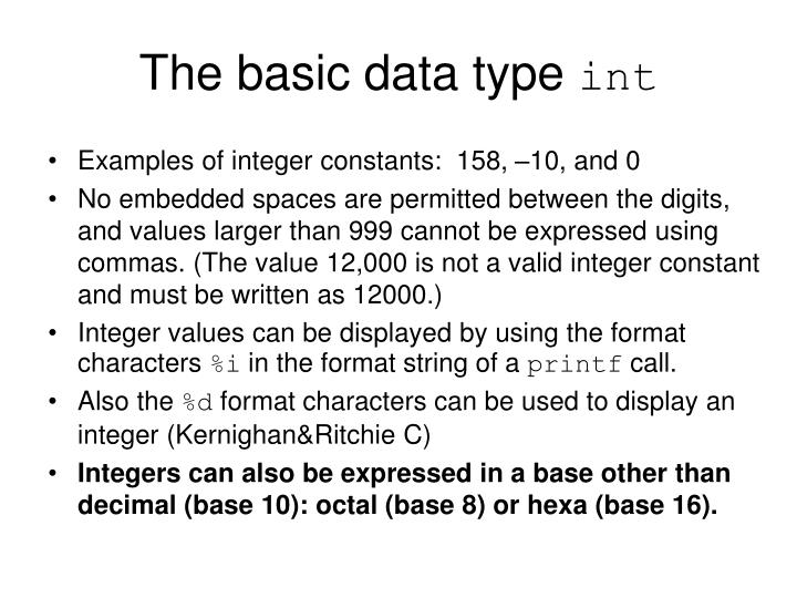 The basic data type