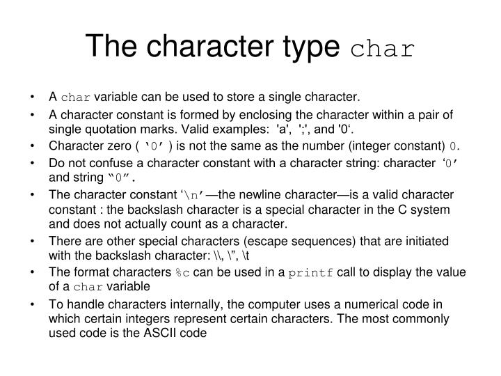 The character type