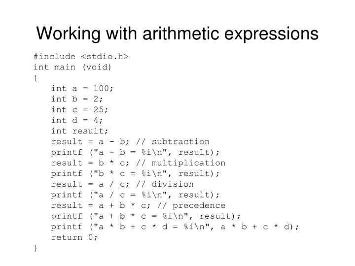 Working with arithmetic expressions