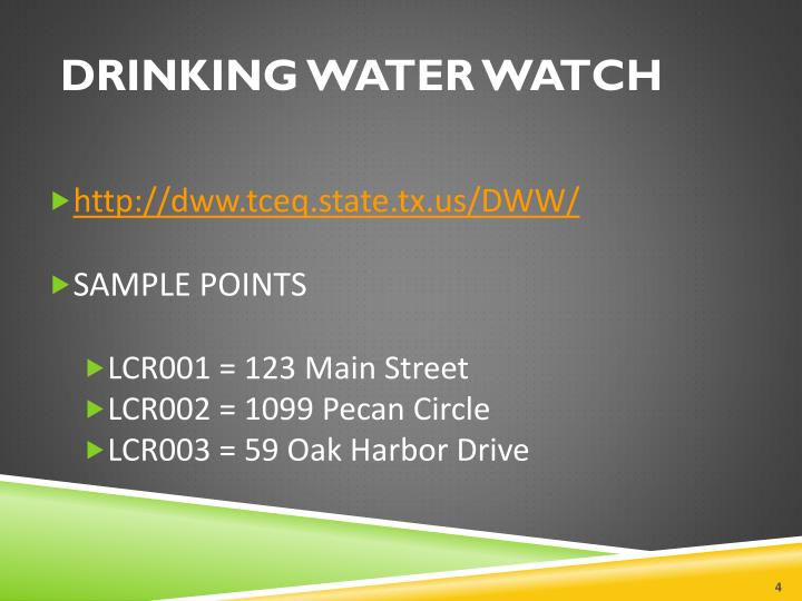 DRINKING WATER WATCH