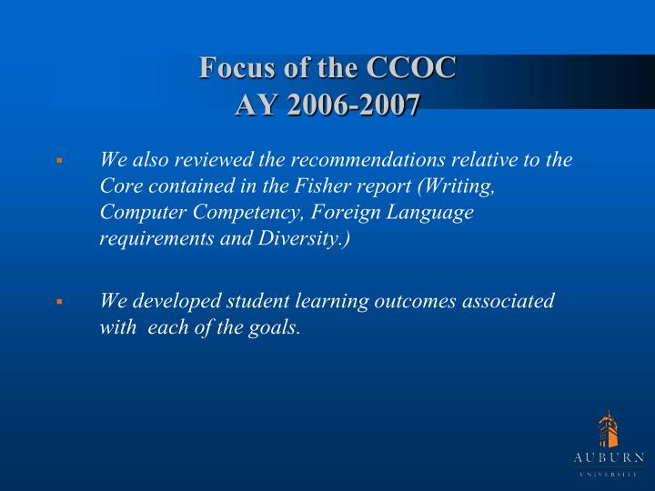 Focus of the CCOC