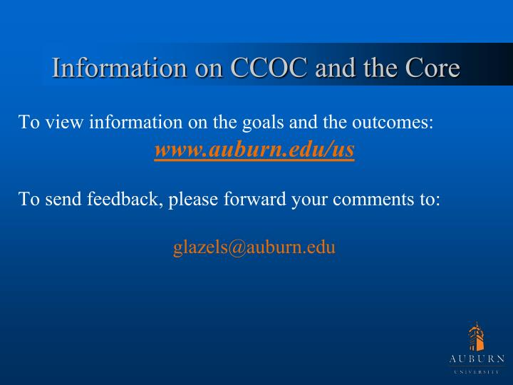 Information on CCOC and the Core