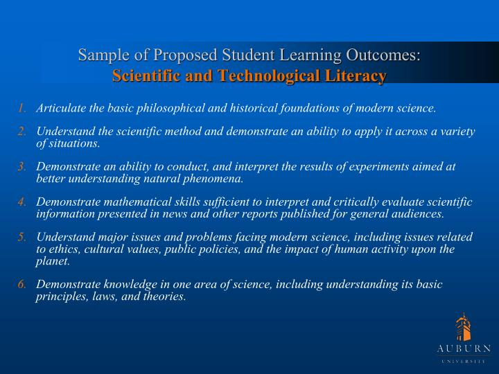 Sample of Proposed Student Learning Outcomes: