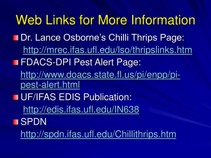 Web Links for More Information