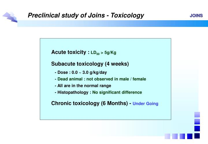 Preclinical study of Joins - Toxicology