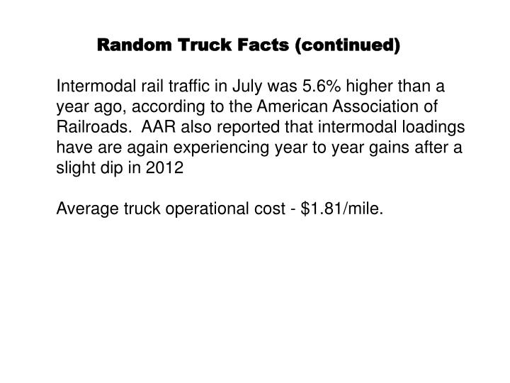 Random Truck Facts (continued)