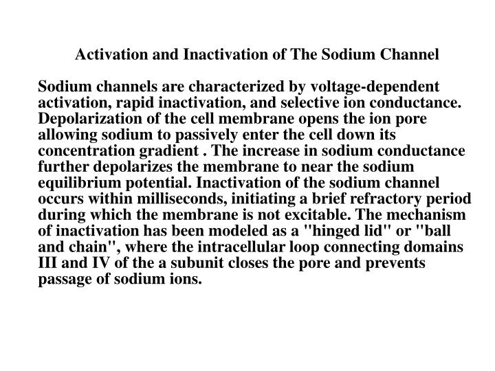 Activation and Inactivation of The Sodium Channel