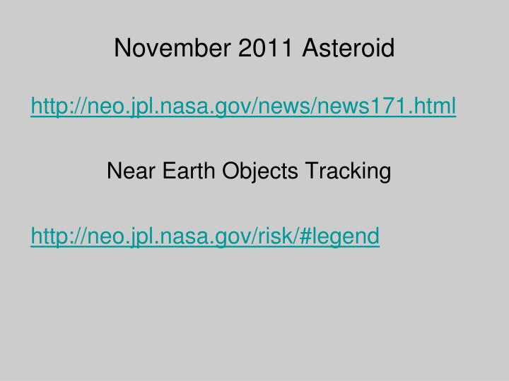 November 2011 Asteroid