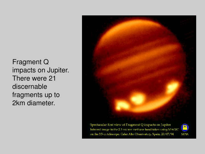 Fragment Q impacts on Jupiter.  There were 21 discernable fragments up to 2km diameter.