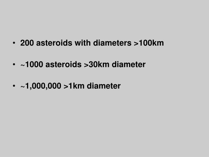 200 asteroids with diameters >100km