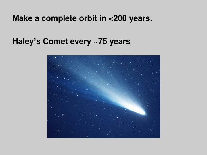 Make a complete orbit in <200 years.