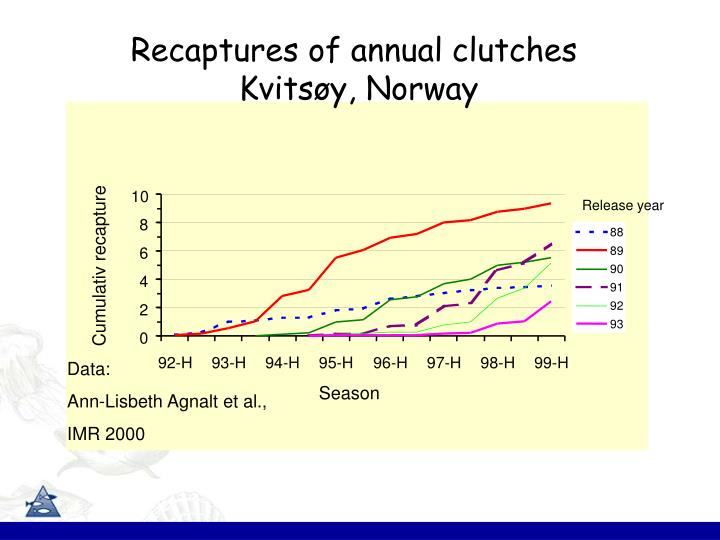 Recaptures of annual clutches