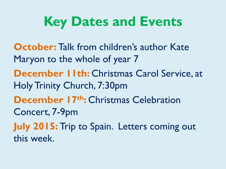 Key Dates and Events