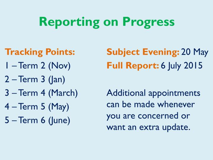 Reporting on Progress