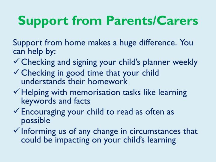 Support from Parents/Carers