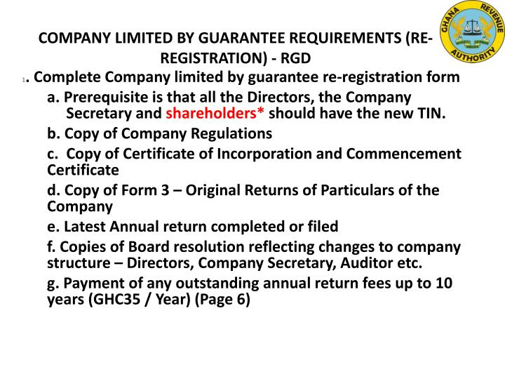 COMPANY LIMITED BY GUARANTEE REQUIREMENTS (RE-REGISTRATION) - RGD