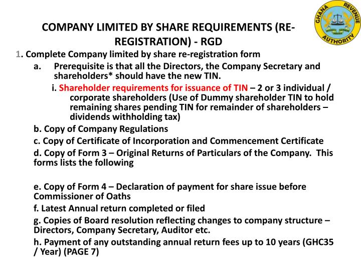 COMPANY LIMITED BY SHARE REQUIREMENTS (RE-REGISTRATION) - RGD