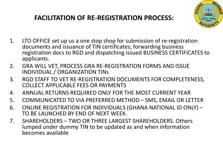 FACILITATION OF RE-REGISTRATION PROCESS: