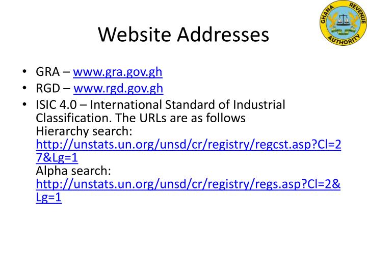 Website Addresses