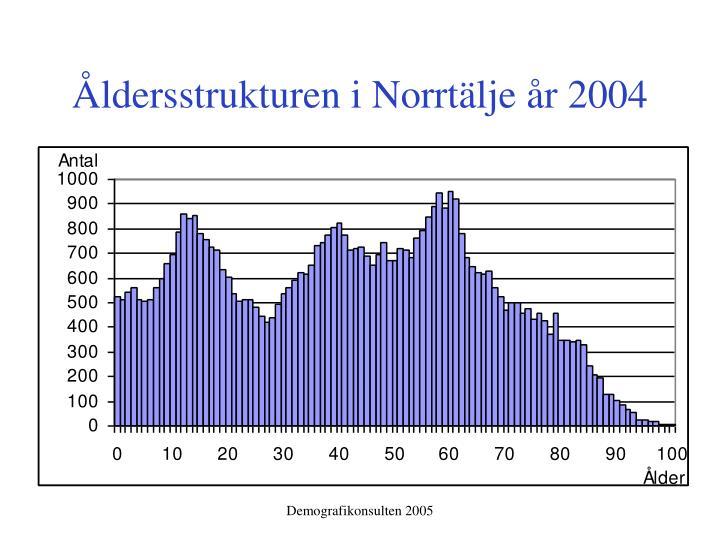 Åldersstrukturen i Norrtälje år 2004