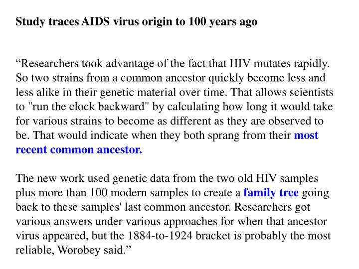Study traces AIDS virus origin to 100 years ago