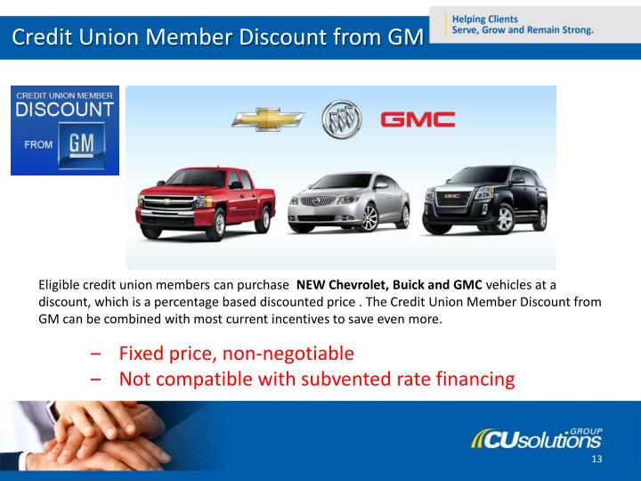 Credit Union Member Discount from GM