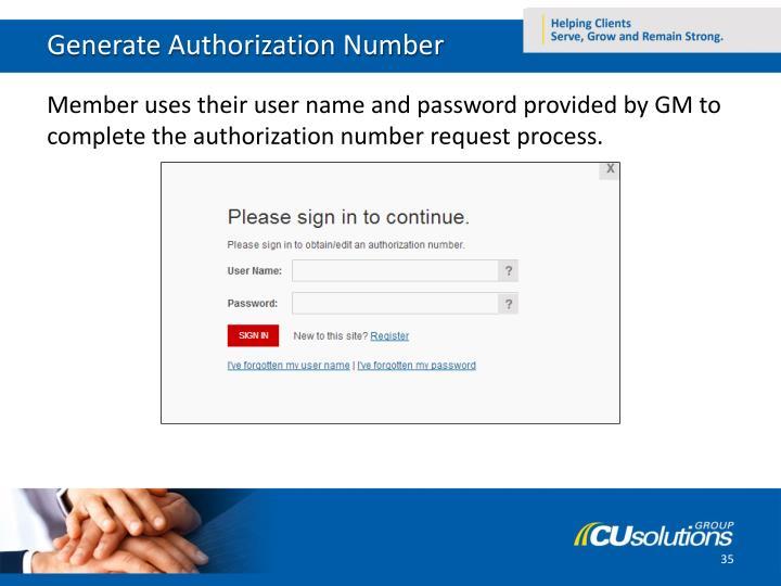 Generate Authorization Number