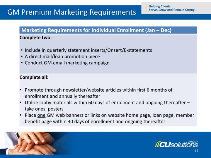 GM Premium Marketing Requirements