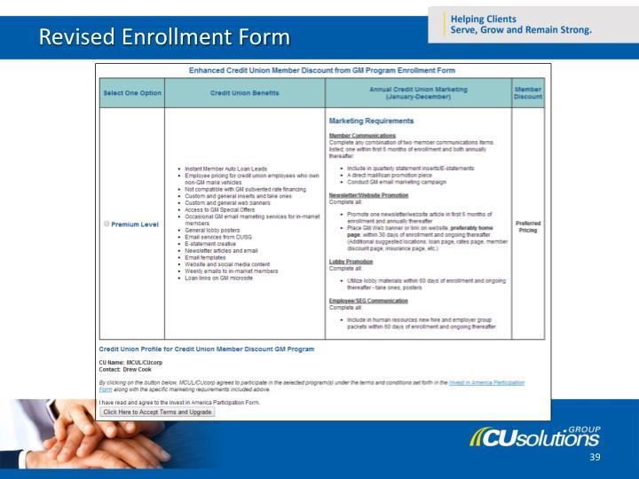 Revised Enrollment Form