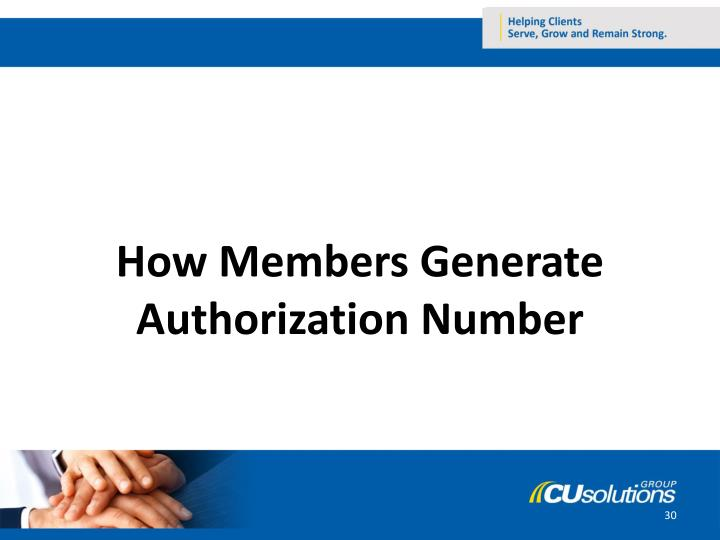How Members Generate Authorization Number