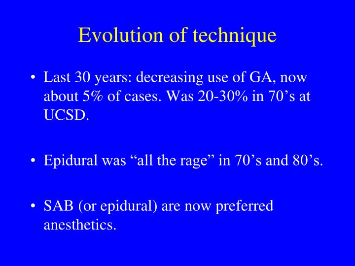 Evolution of technique